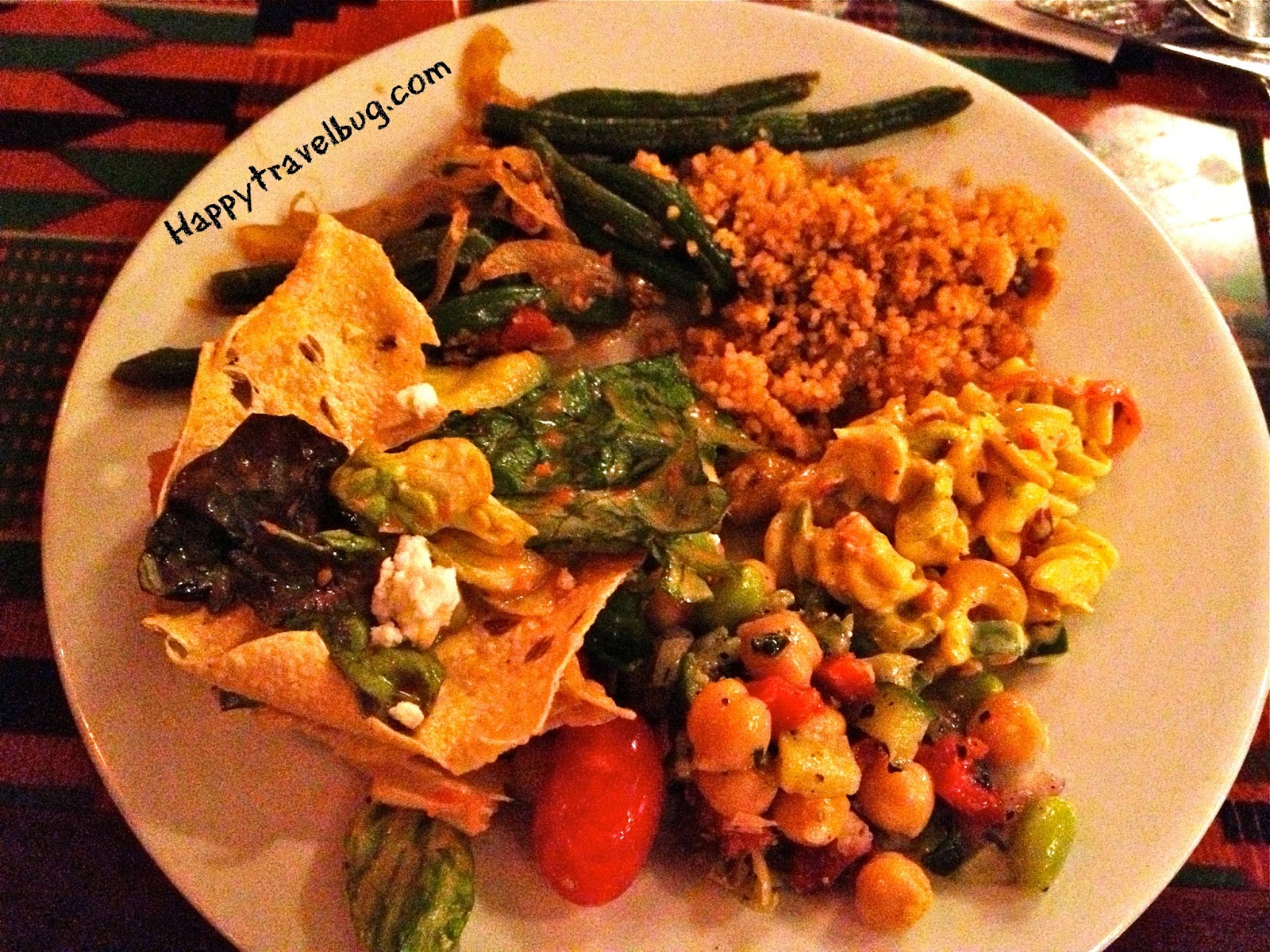 crackers, feisty green beans and couscous with dried fruits and nuts ...