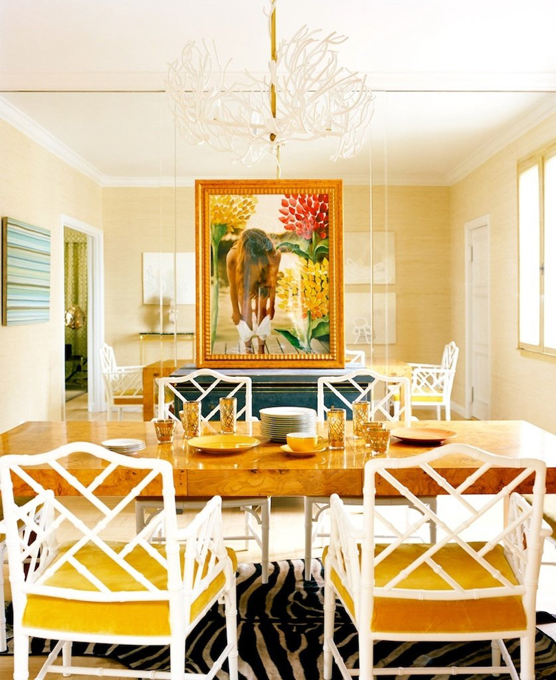 Sybaritic spaces yellow dining rooms for Dining room space