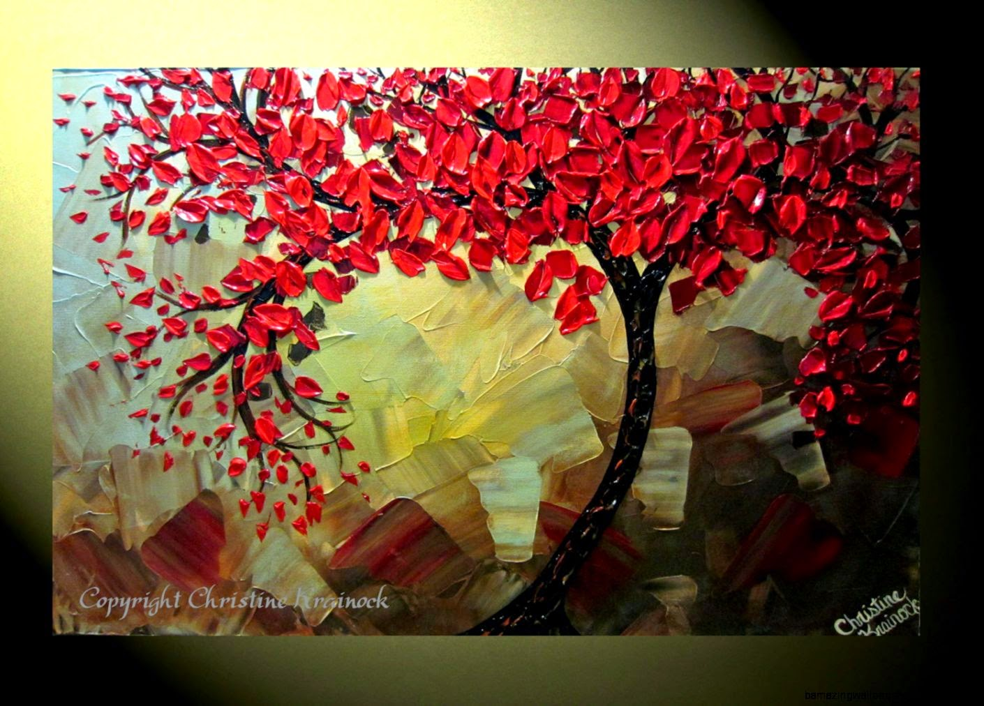 Original Abstract Tree Painting Textured Red by ChristineKrainock
