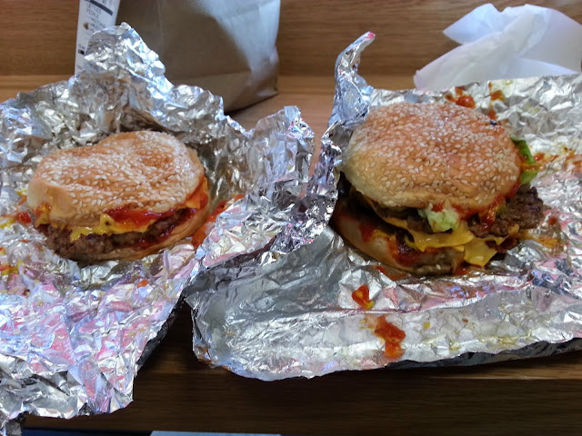 Biggly and Littly - the cheeseburgers from Five Guys