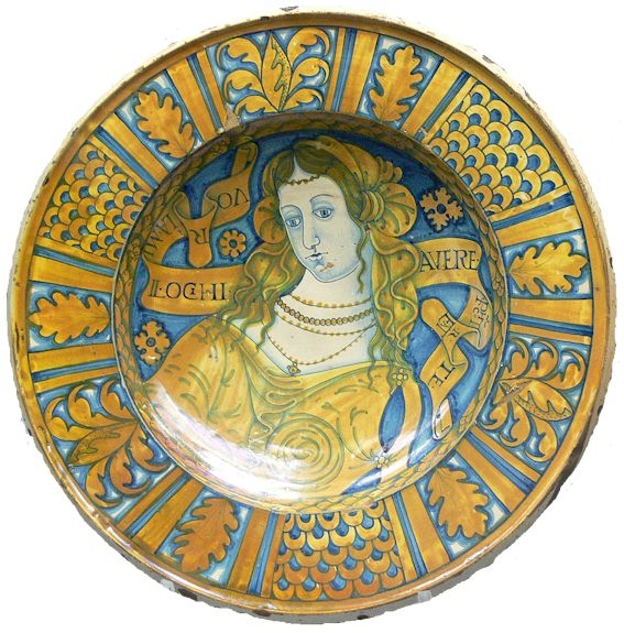 Antique majolica plate from Deruta, Umbria, Italy