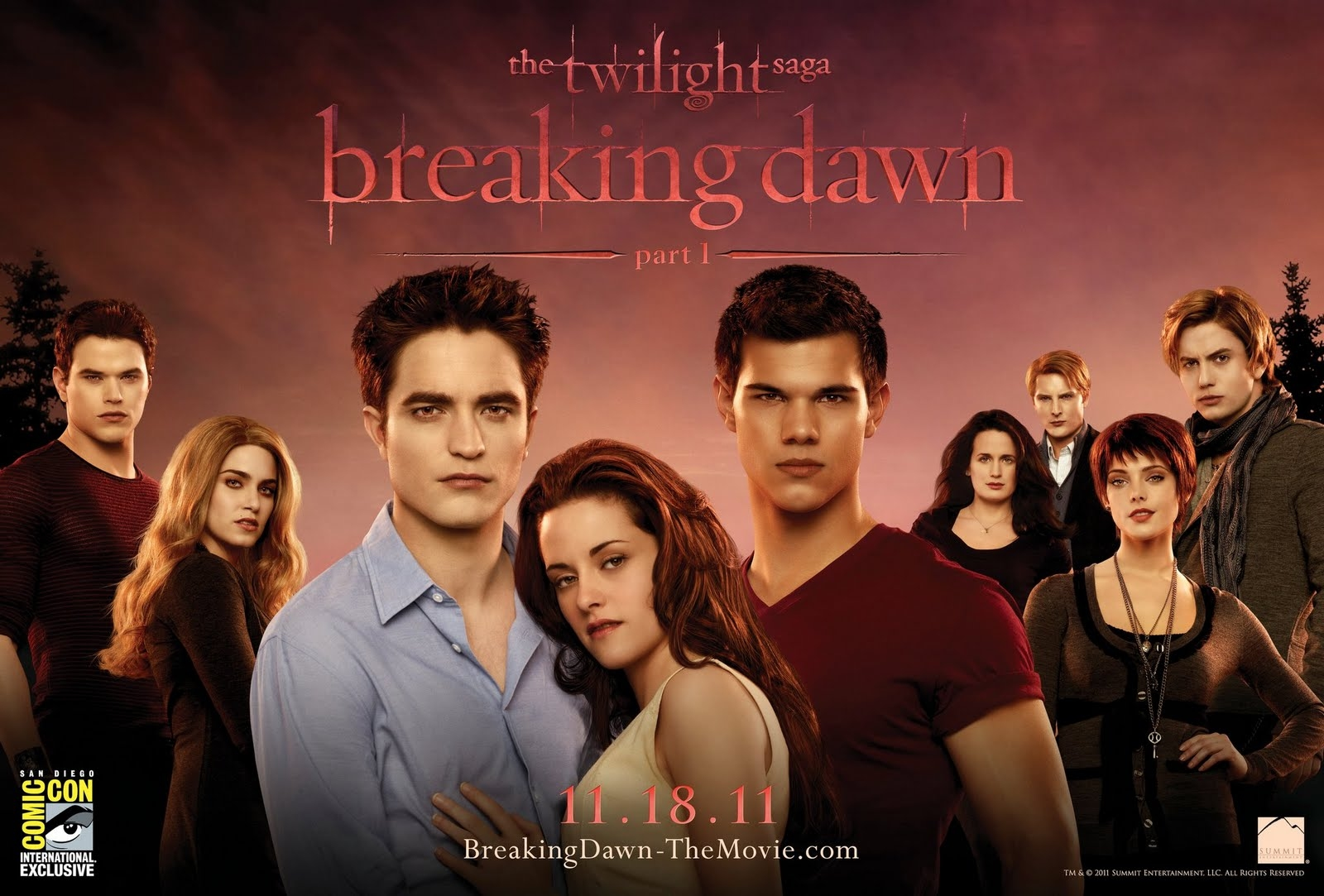 Movie News : The Twilight Saga: Breaking Dawn's Comic-Con poster - In Breaking Dawn Part I, Edward (Robert Pattinson) and Bella (Kristen Stewart) jump the broom to become husband and wife and not everyone's happy about it. Jacob Black (Taylor Lautner) has some serious resentment to deal with, which lucky for us means more drama.