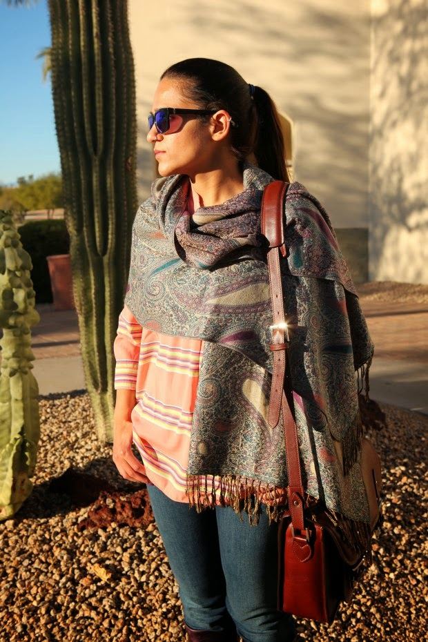 Shawl from India, Blouse GAP, Levis Jeans, Ecco Boots, ONA Camera bag. Tanvii.com