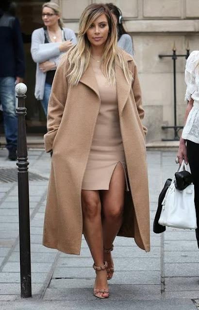 Kim Kardashian beige oversized coat
