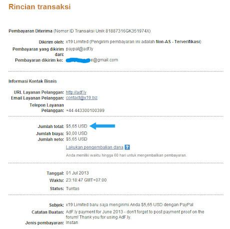 Pembayaran pertama dari adf.ly