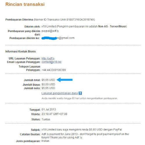 Pembayaran perdana dari adf.ly