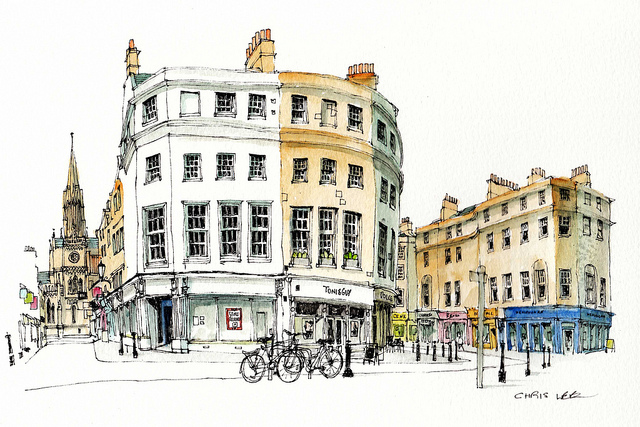 15-UK-Milsom-Street-Bath-Chris-Lee-Charming-Architectural-wobbly-Drawings-and-Paintings-www-designstack-co
