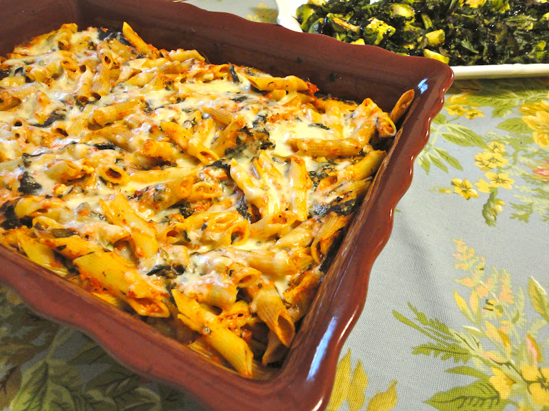 Blissful Baking: Low Fat Baked Ziti with Spinach