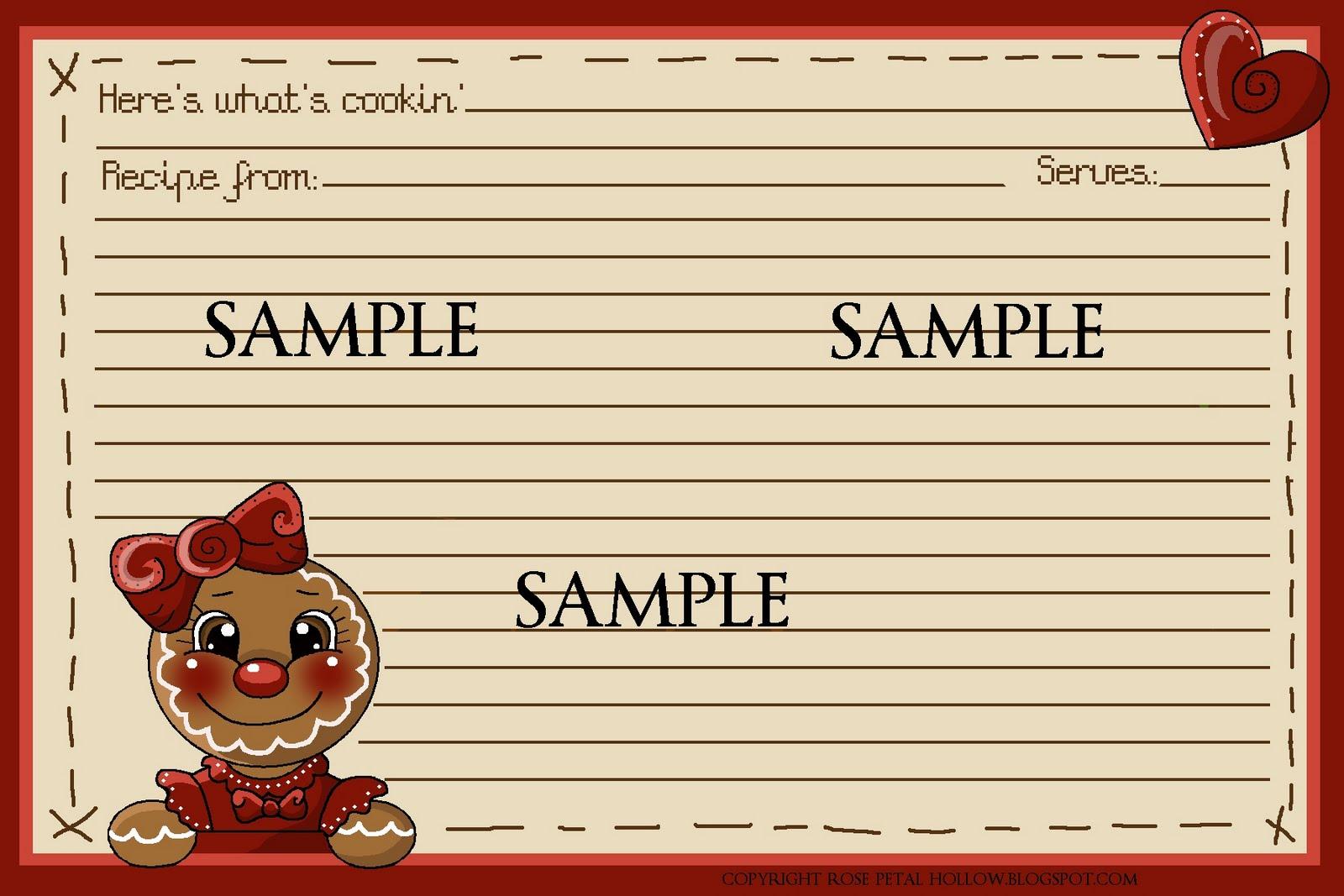 Rose Petal Hollow Cookie Exchange FREE recipe card – Sample Recipe Card