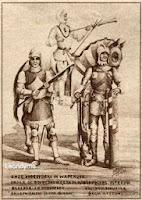 Bereden en onbereden kolveniers op het einde van de 15e eeuw. Rechts een voetboogschutter, begin van de 15e eeuw.