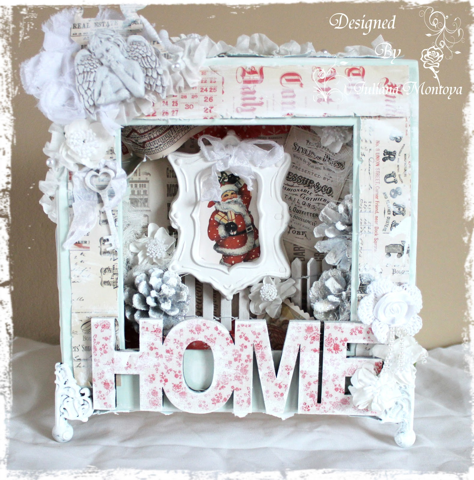 Shabbychicjcouture shabby chic christmas shadow box for Shabby chic christmas