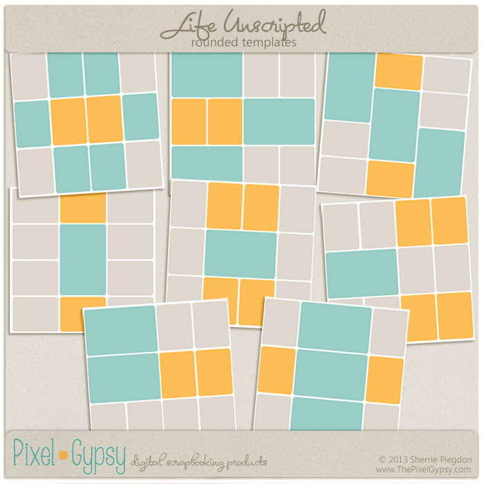 Life Unscripted Rounded Corner Project Life Digital Templates