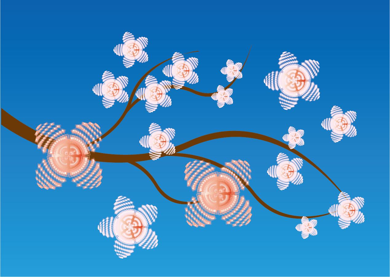美しく咲く桜の枝 Beautiful blooming cherry blossom branch イラスト素材