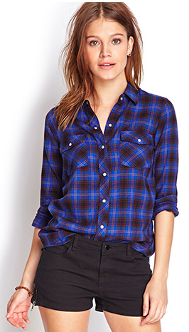 Blue flannel snap-button up from Forever21