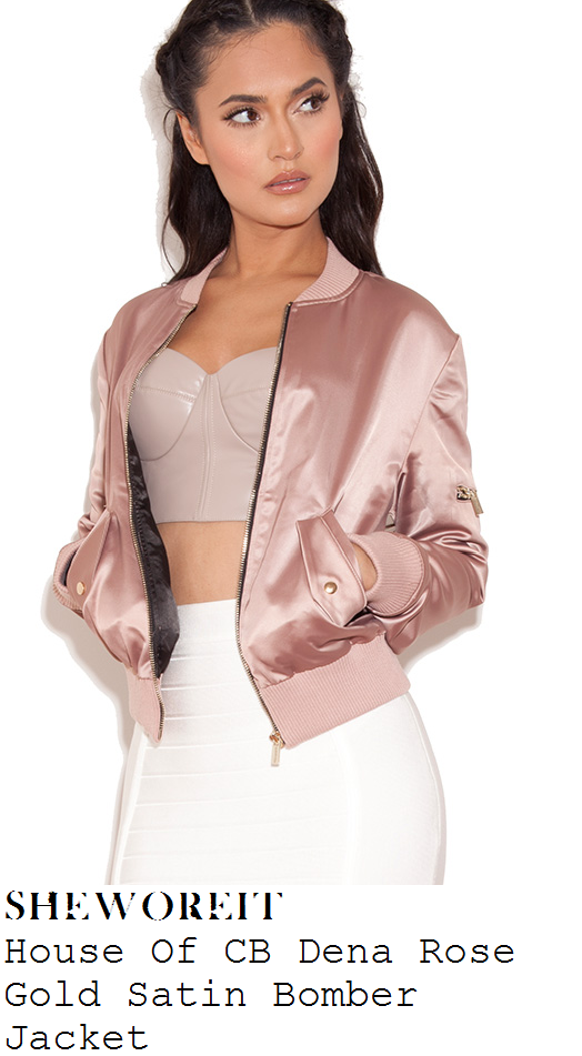 aubrey-oday-pink-rose-gold-satin-cropped-bomber-jacket