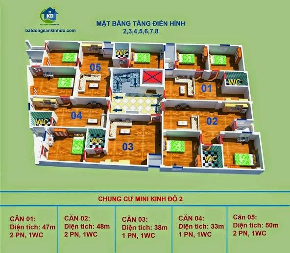 Măt bằng các căn hộ chung cư mini Xuân Đỉnh