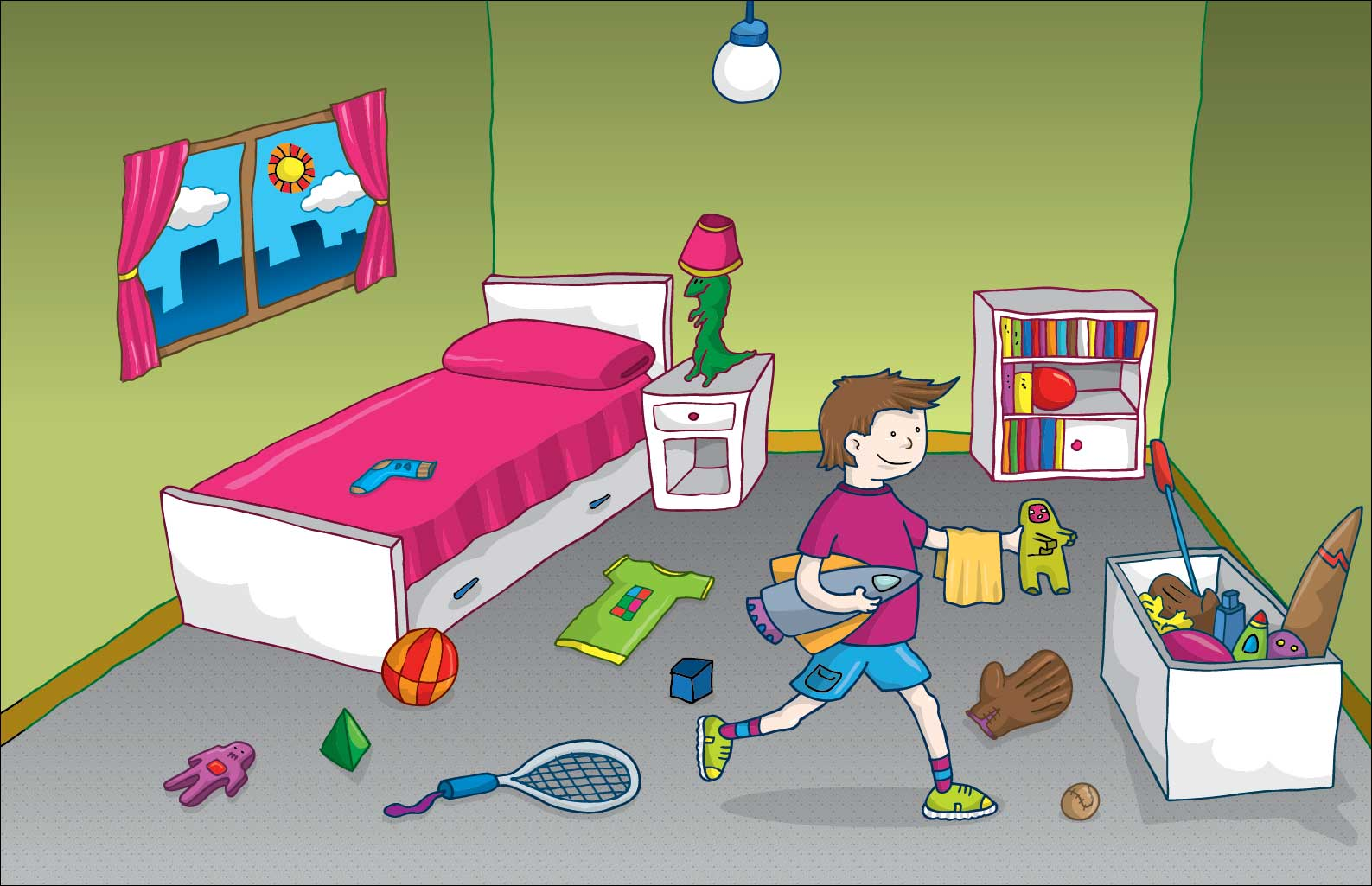 habitacion ordenada dibujo