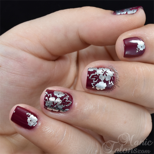 KBShimmer Silver Floral Water Slide Decal