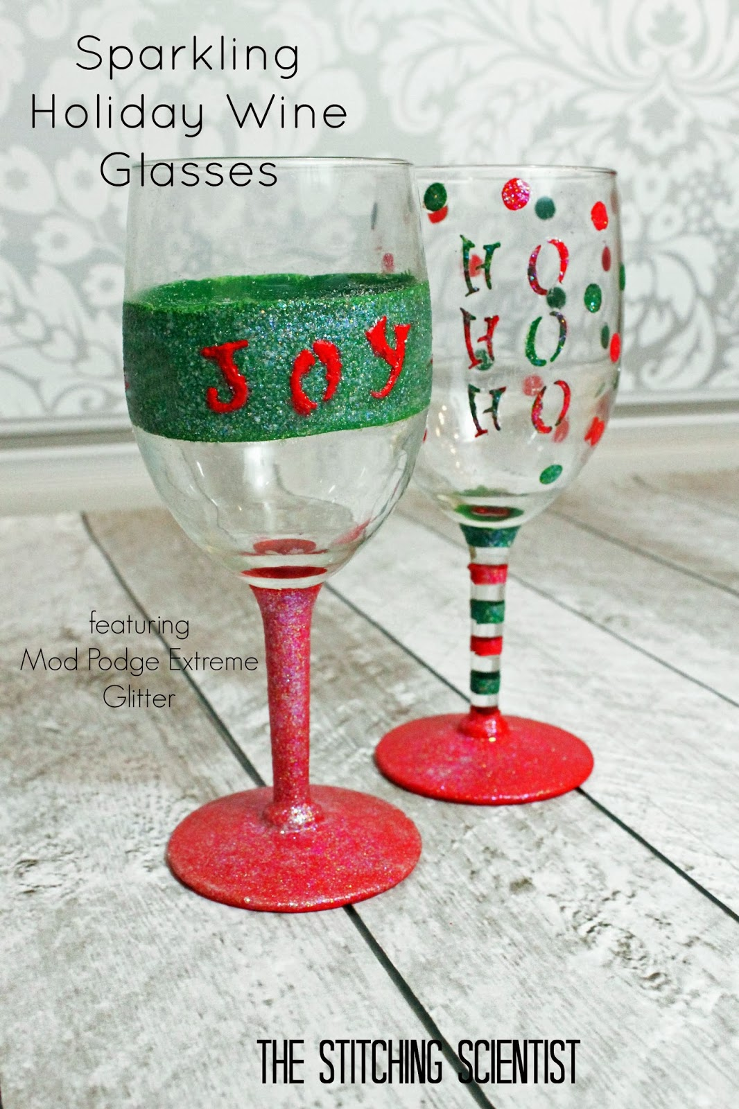Diy sparkling holiday wine glasses the stitching scientist for Holiday wine glass crafts