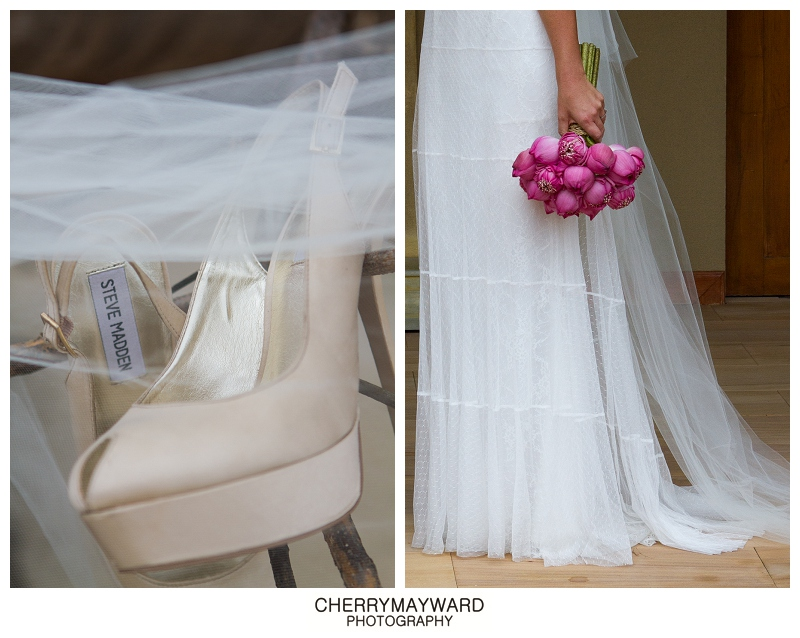 Brides Steve Madden wedding shoes, pink lotus boquet, and Luci DiBella dress