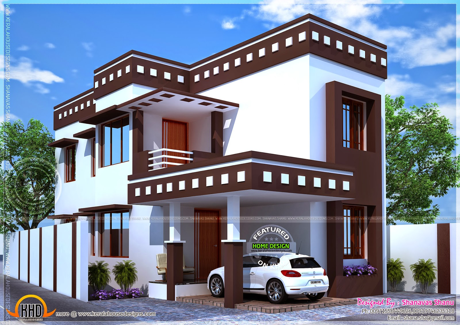 Flat roof modern villa with floor plan kerala home for Small villa plans in kerala