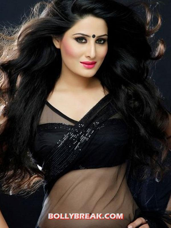 Arjumman Mughal Hot Navel in black saree -  Arjumman Mughal Hot Pics
