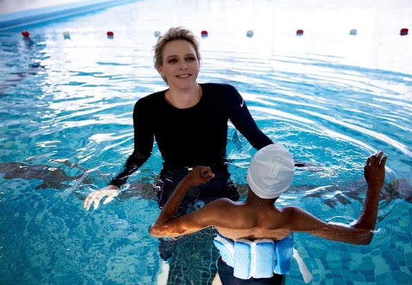 Princess Charlene At The St. Charles College's Pool