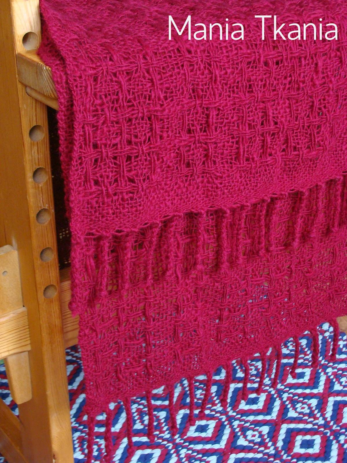 ręcznie tkany wełniany szal