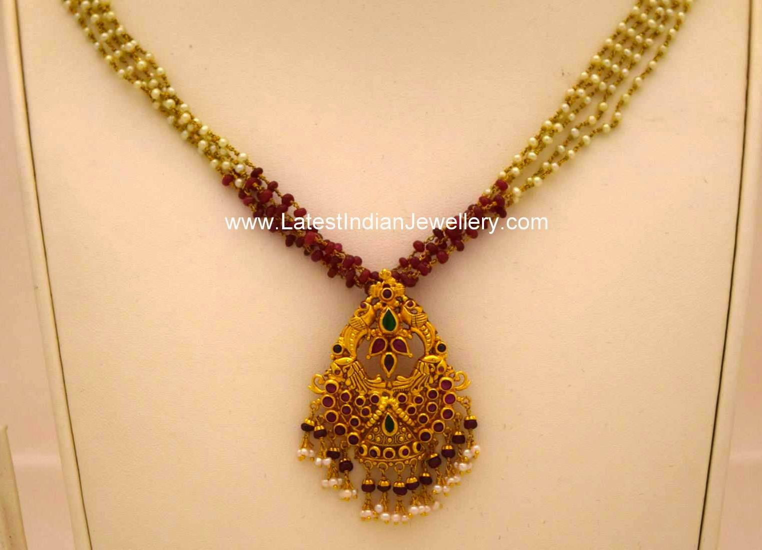 Light Weight Beads Chain Gold Pendant