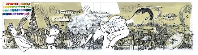 In progress de uma das imagens com a estrutura do desenho feita completamente no Mypaint 1.0.