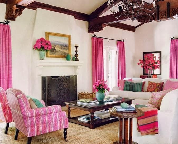Salas de color rosa salas con estilo for Paredes blancas