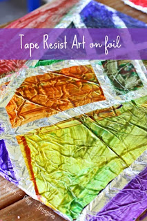 Creating tape resist art on foil - What a fun texture to paint on, and I just love the results.