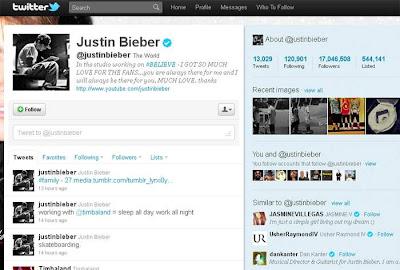 Twitter do Justin Bieber