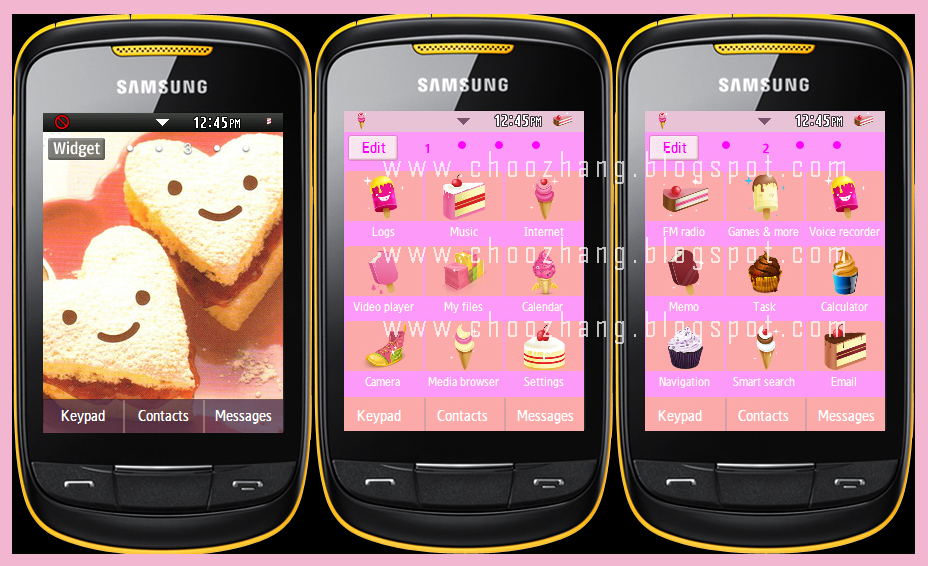 Version #4: Kawaii Foods + Pink+ Girl Theme by Corby Cat