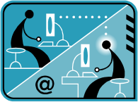 Illustration of people at computers