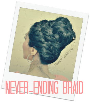 Cute creative never-ending French braid sock bun tutorial for school, wedding, brdial, evening, for medium long hair