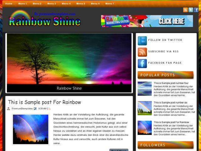 Rainbow Shine Blogger Template