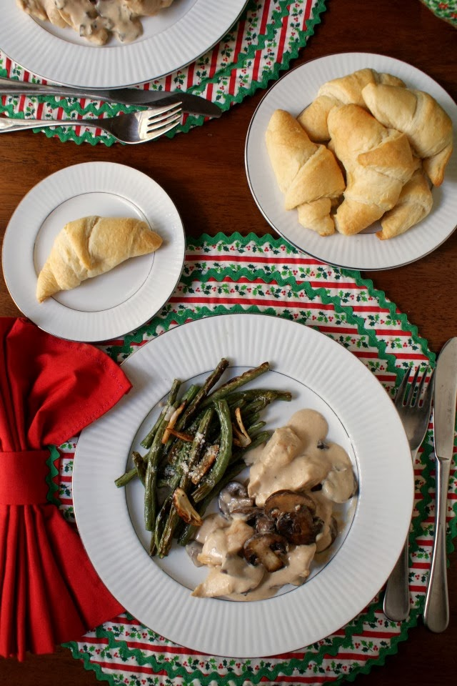 Creamy Parmesan Chicken with Baby Bellas and Garlic Roasted Green Beans