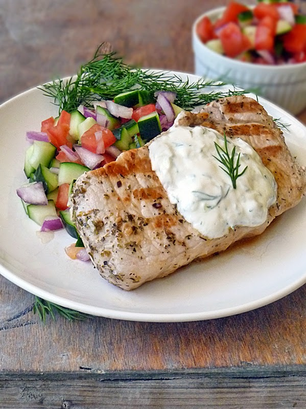 Greek Style Pork Chops with a Cucumber and Tomato Salad is a low carb ...