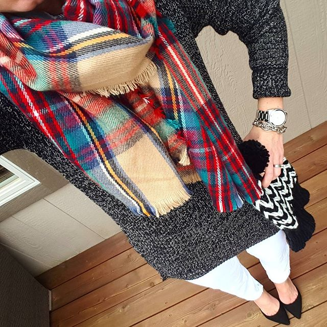 BP. Textured Knit Pullover - only $23, regular $38! // Gap Factory Jeans (similar) // Merona Scarf (similar in full blanket scarf size) // Old Navy Pom Hat (similar) // Signature by Report Heels (only $27, regular $90!) // Michael Kors Runway Watch // Saks Off Fifth Link Bracelet - only $10, regular $25!