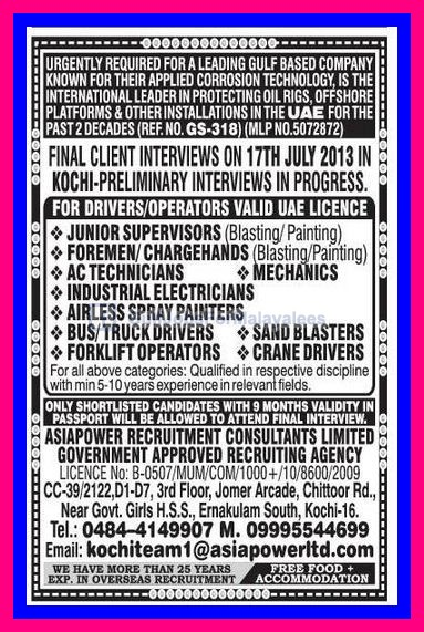 Oil Rigs Offshore Vacancies For Uae Gulf Jobs For Malayalees