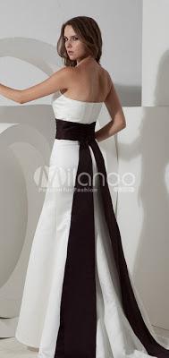 Blanc robe bustier de soirée en satin Sash