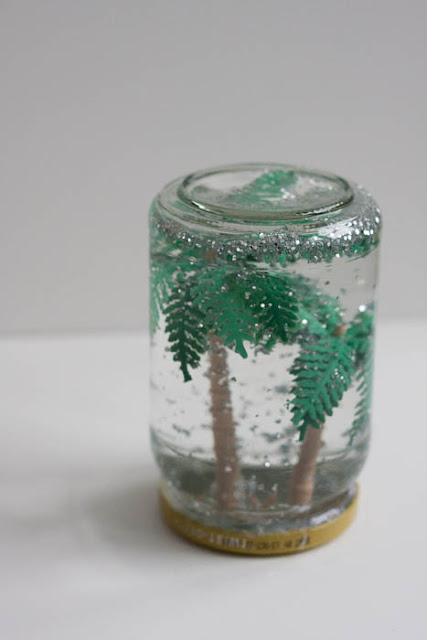 homemade snow globe with tree