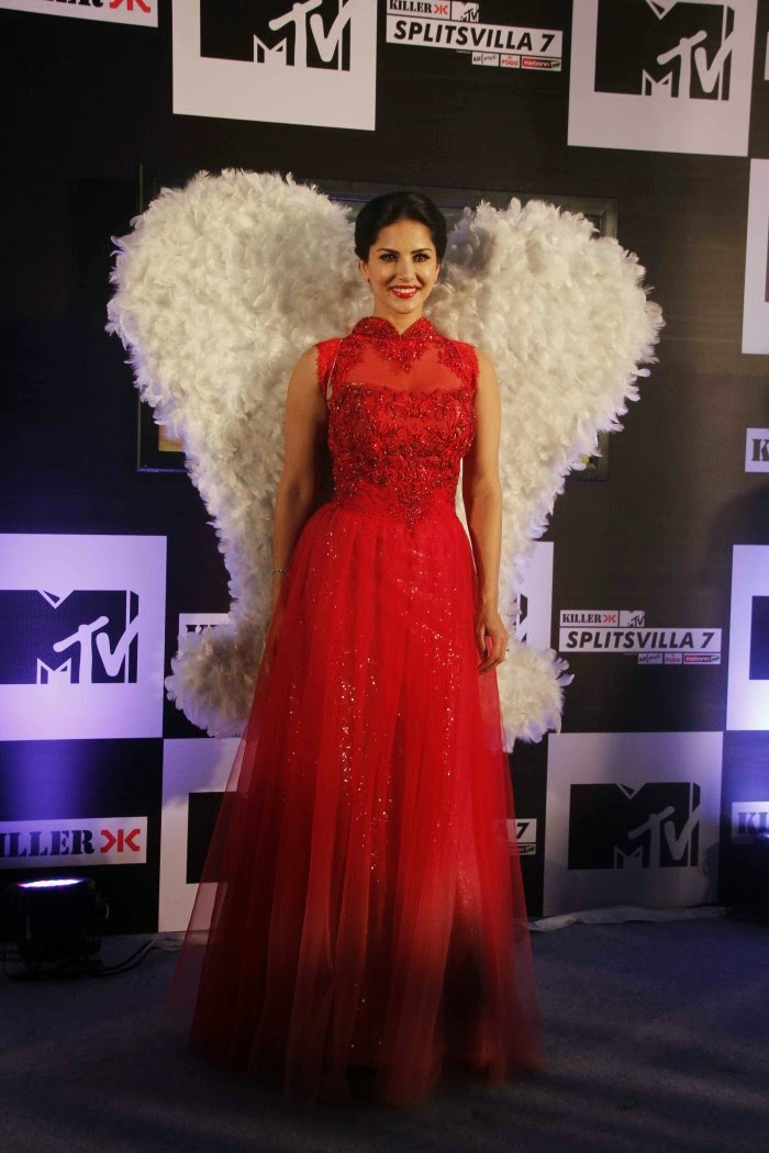 Sunny Leone Hot and Spicy HD Wallpapers in Red Dress - MTV Splitsvilla Season 7
