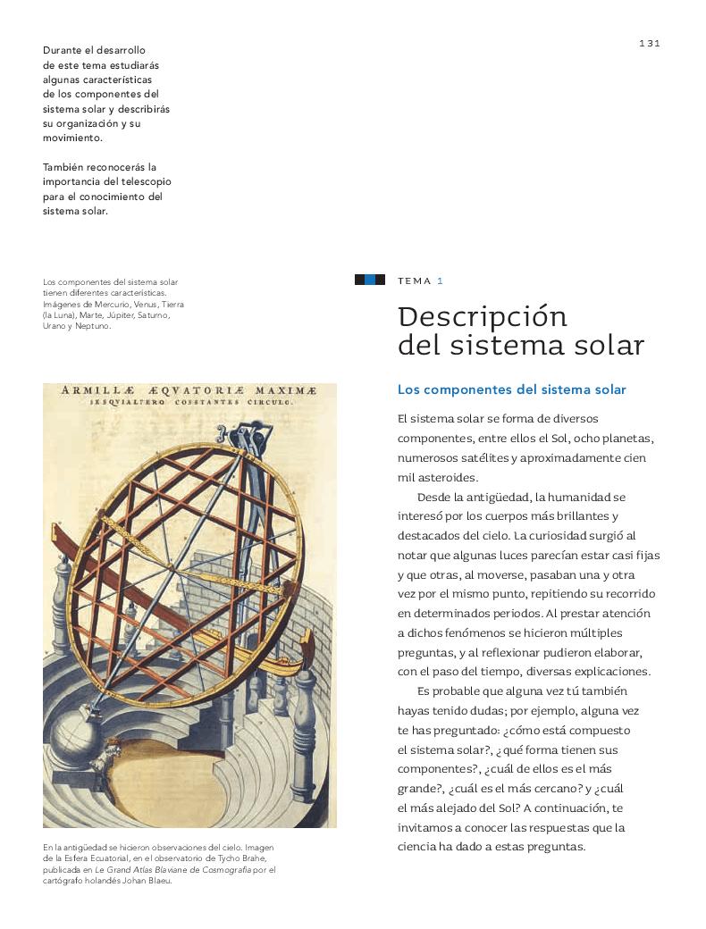 Descripción del Sistema Solar - Ciencias Naturales Bloque