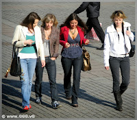 Girls wearing navy jeans