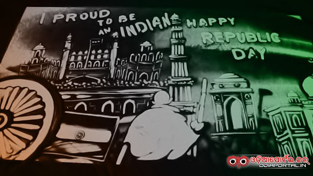 Sand Animation on 67th Republic Day of India by Odia Sand Artist Manas Kumar Sahoo