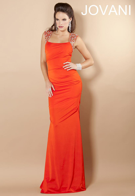 дълга права рокля с широки презрамки огнено оранжево