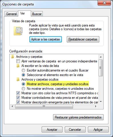 Mostrar archivos, carpetas y unidades ocultos