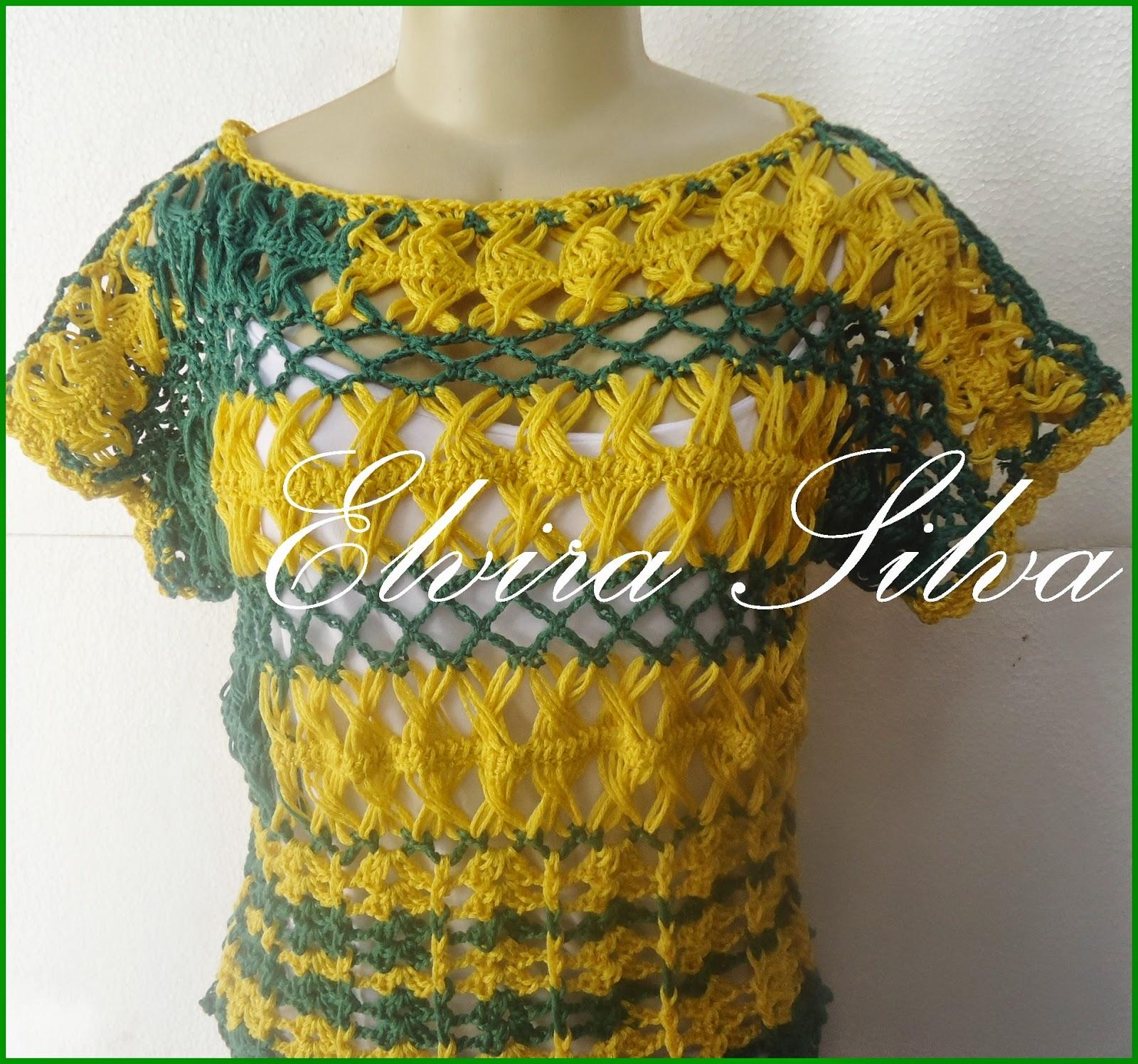 1822ffb5ff7b9 Dando continuidade ao verde e amarelo,dessa vez,uma blusa em crochê de  grampo,com o fio Paixão Nacional da CIRCULO S A!O modelo não é novo,pode  conferir ...